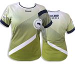 Camiseta dona Coolmax | Verd, blanc i blau marí
