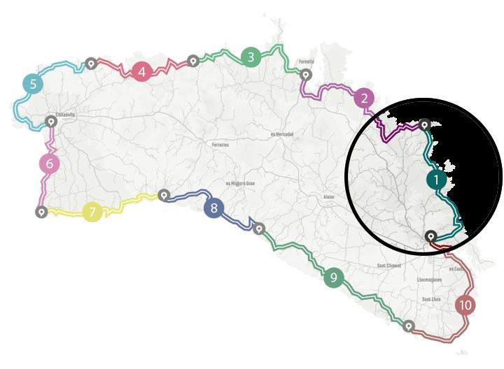 Mapa del programa Senderisme 10 etapes de Camí de Cavalls 360º. Tram 1.