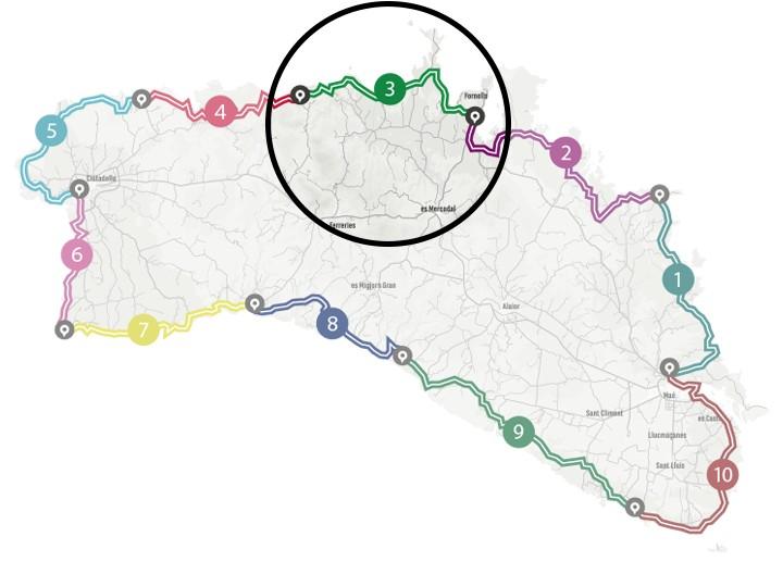 Mapa del programa Senderisme 10 etapes de Camí de Cavalls 360º. Etapa 3.